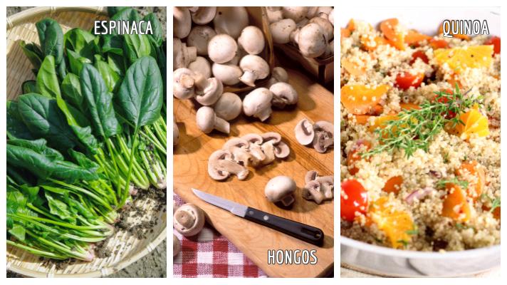 Superalimentos: espinaca, hongos, quinoa